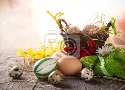 Красочные пасхальные яйца с коричневой корзины, 28x20 см, на бумаге05.05 Пасха<br>Постер на холсте или бумаге. Любого нужного вам размера. В раме или без. Подвес в комплекте. Трехслойная надежная упаковка. Доставим в любую точку России. Вам осталось только повесить картину на стену!<br>