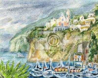 Средиземноморье, современный пейзаж Лодки в бухте от рыбацкой деревниСредиземноморье, современный пейзаж<br>Репродукция на холсте или бумаге. Любого нужного вам размера. В раме или без. Подвес в комплекте. Трехслойная надежная упаковка. Доставим в любую точку России. Вам осталось только повесить картину на стену!<br>