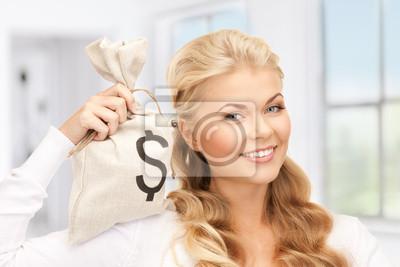 Постер Деятельность Женщина с доллара подписан пакет, 30x20 см, на бумагеДеньги и финансы<br>Постер на холсте или бумаге. Любого нужного вам размера. В раме или без. Подвес в комплекте. Трехслойная надежная упаковка. Доставим в любую точку России. Вам осталось только повесить картину на стену!<br>