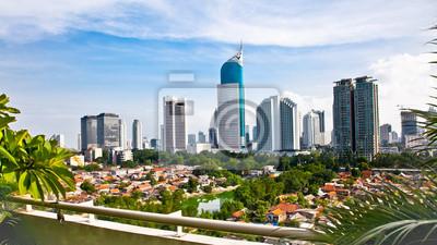 Постер Индонезия Панорамным пейзажем столице Индонезии ДжакартеИндонезия<br>Постер на холсте или бумаге. Любого нужного вам размера. В раме или без. Подвес в комплекте. Трехслойная надежная упаковка. Доставим в любую точку России. Вам осталось только повесить картину на стену!<br>