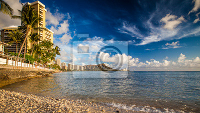 Waikiki Beach, Hawai бахаи, 36x20 см, на бумагеГавайи<br>Постер на холсте или бумаге. Любого нужного вам размера. В раме или без. Подвес в комплекте. Трехслойная надежная упаковка. Доставим в любую точку России. Вам осталось только повесить картину на стену!<br>