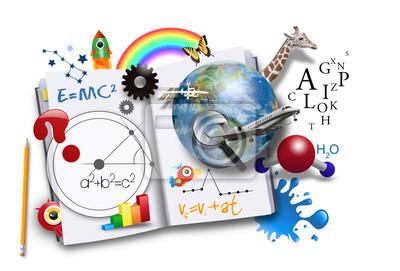 Постер Открытая книга обучения с наукой и математикойФормула Эйнштейна<br>Постер на холсте или бумаге. Любого нужного вам размера. В раме или без. Подвес в комплекте. Трехслойная надежная упаковка. Доставим в любую точку России. Вам осталось только повесить картину на стену!<br>