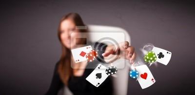Молодая женщина, играя в покер, карты и фишки, 41x20 см, на бумагеКазино<br>Постер на холсте или бумаге. Любого нужного вам размера. В раме или без. Подвес в комплекте. Трехслойная надежная упаковка. Доставим в любую точку России. Вам осталось только повесить картину на стену!<br>