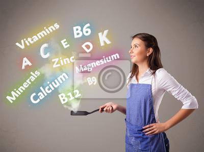 Постер Деятельность Молодая женщина приготовления пищи, витаминов и минералов, 27x20 см, на бумагеМедицина<br>Постер на холсте или бумаге. Любого нужного вам размера. В раме или без. Подвес в комплекте. Трехслойная надежная упаковка. Доставим в любую точку России. Вам осталось только повесить картину на стену!<br>