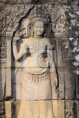 Постер Камбоджа Apsara помощи резьбы по камню в Ангкор в Сиам рип, КамбоджаКамбоджа<br>Постер на холсте или бумаге. Любого нужного вам размера. В раме или без. Подвес в комплекте. Трехслойная надежная упаковка. Доставим в любую точку России. Вам осталось только повесить картину на стену!<br>