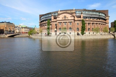 Постер Страны Стокгольм, Швеция - здание парламента, 30x20 см, на бумагеШвеция<br>Постер на холсте или бумаге. Любого нужного вам размера. В раме или без. Подвес в комплекте. Трехслойная надежная упаковка. Доставим в любую точку России. Вам осталось только повесить картину на стену!<br>