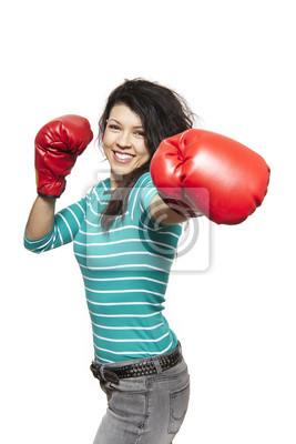 Постер Спорт Молодая женщина в боксерских перчатках улыбаясь, 20x30 см, на бумагеБокс<br>Постер на холсте или бумаге. Любого нужного вам размера. В раме или без. Подвес в комплекте. Трехслойная надежная упаковка. Доставим в любую точку России. Вам осталось только повесить картину на стену!<br>