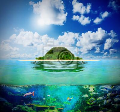 Постер Пейзаж морской Солнечный тропический пляж на островеПейзаж морской<br>Постер на холсте или бумаге. Любого нужного вам размера. В раме или без. Подвес в комплекте. Трехслойная надежная упаковка. Доставим в любую точку России. Вам осталось только повесить картину на стену!<br>