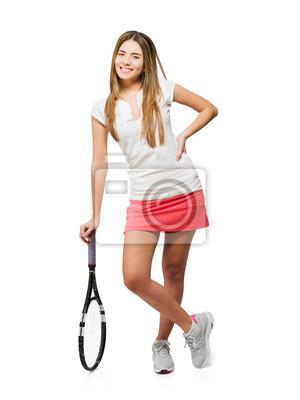Постер Спорт Молодые Женщины, Держащей Ракетку, 20x27 см, на бумагеБольшой теннис<br>Постер на холсте или бумаге. Любого нужного вам размера. В раме или без. Подвес в комплекте. Трехслойная надежная упаковка. Доставим в любую точку России. Вам осталось только повесить картину на стену!<br>