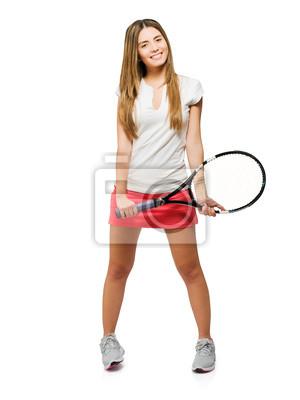 Постер Большой теннис Молодые Женщины, Держащей РакеткуБольшой теннис<br>Постер на холсте или бумаге. Любого нужного вам размера. В раме или без. Подвес в комплекте. Трехслойная надежная упаковка. Доставим в любую точку России. Вам осталось только повесить картину на стену!<br>
