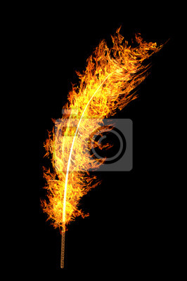 Птица Феникс, картина Ярко-оранжевого пламени перо, изолированные на черныйПтица Феникс<br>Репродукция на холсте или бумаге. Любого нужного вам размера. В раме или без. Подвес в комплекте. Трехслойная надежная упаковка. Доставим в любую точку России. Вам осталось только повесить картину на стену!<br>