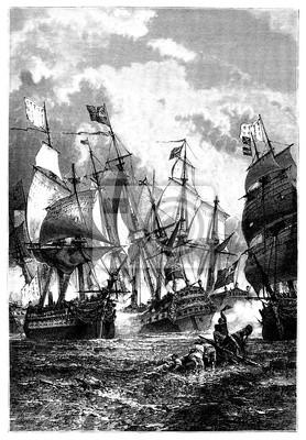 Постер Морской Бой - Победный Корабль Le Эро - 18-го векаПираты<br>Постер на холсте или бумаге. Любого нужного вам размера. В раме или без. Подвес в комплекте. Трехслойная надежная упаковка. Доставим в любую точку России. Вам осталось только повесить картину на стену!<br>