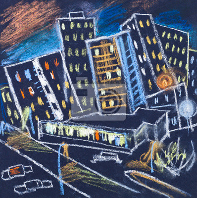 Постер Современный городской пейзаж Город в ночиСовременный городской пейзаж<br>Постер на холсте или бумаге. Любого нужного вам размера. В раме или без. Подвес в комплекте. Трехслойная надежная упаковка. Доставим в любую точку России. Вам осталось только повесить картину на стену!<br>