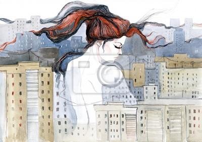 Пейзаж современный городской Женщина внутри городаПейзаж современный городской<br>Репродукция на холсте или бумаге. Любого нужного вам размера. В раме или без. Подвес в комплекте. Трехслойная надежная упаковка. Доставим в любую точку России. Вам осталось только повесить картину на стену!<br>