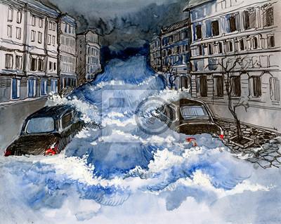 Постер Современный городской пейзаж НаводнениеСовременный городской пейзаж<br>Постер на холсте или бумаге. Любого нужного вам размера. В раме или без. Подвес в комплекте. Трехслойная надежная упаковка. Доставим в любую точку России. Вам осталось только повесить картину на стену!<br>