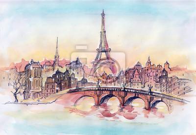 Постер Современный городской пейзаж Закат в ПарижеСовременный городской пейзаж<br>Постер на холсте или бумаге. Любого нужного вам размера. В раме или без. Подвес в комплекте. Трехслойная надежная упаковка. Доставим в любую точку России. Вам осталось только повесить картину на стену!<br>