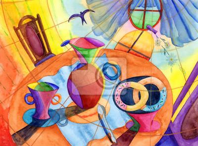 Искусство, картина Постер 52515680, 27x20 см, на бумагеНатюрморт в современной живописи<br>Постер на холсте или бумаге. Любого нужного вам размера. В раме или без. Подвес в комплекте. Трехслойная надежная упаковка. Доставим в любую точку России. Вам осталось только повесить картину на стену!<br>