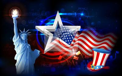 Постер Статуя Свободы с американским Флагом, 32x20 см, на бумагеФлаг США<br>Постер на холсте или бумаге. Любого нужного вам размера. В раме или без. Подвес в комплекте. Трехслойная надежная упаковка. Доставим в любую точку России. Вам осталось только повесить картину на стену!<br>
