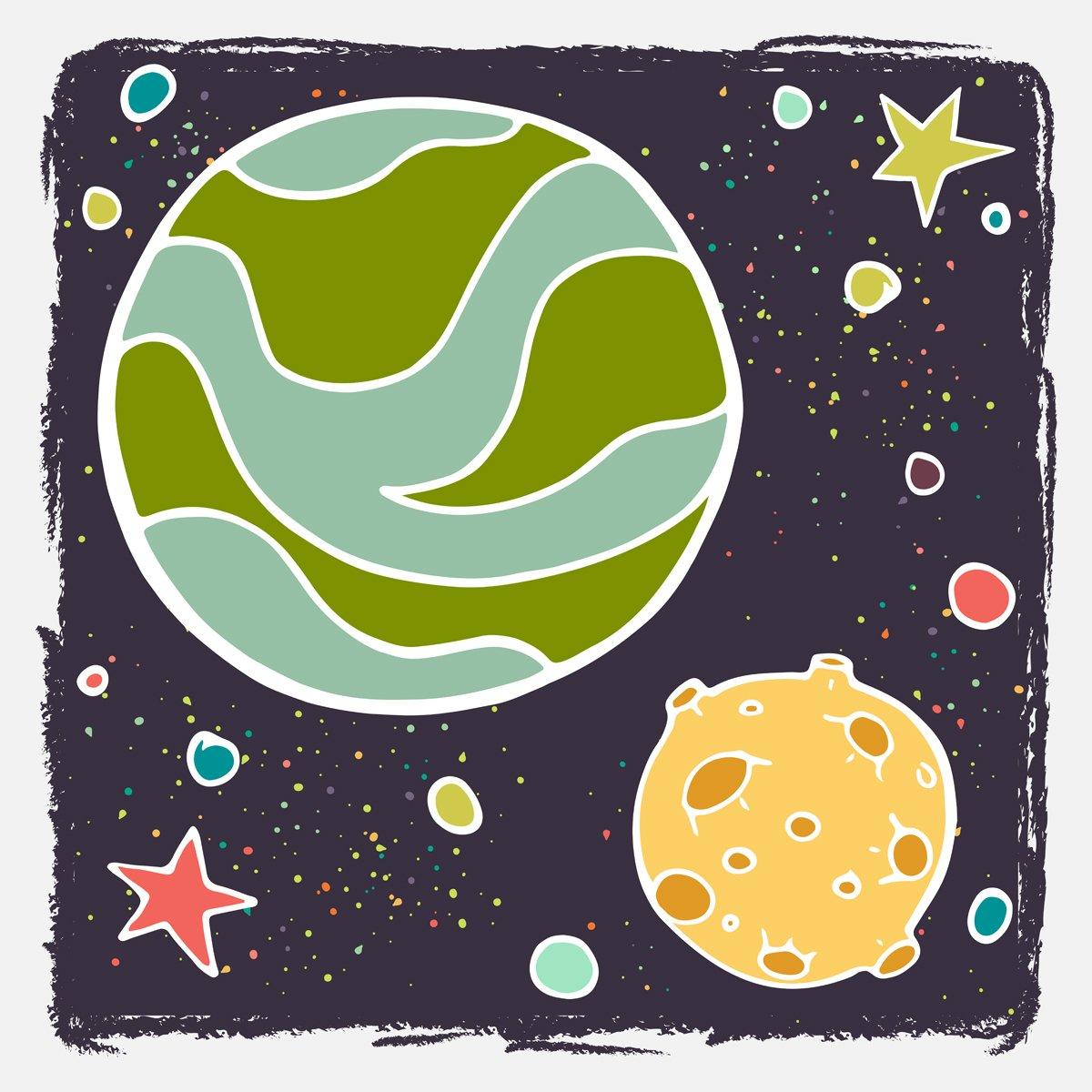 Постер Космос детям Рисованной мультфильм Планета, луна и звезды.Космос детям<br>Постер на холсте или бумаге. Любого нужного вам размера. В раме или без. Подвес в комплекте. Трехслойная надежная упаковка. Доставим в любую точку России. Вам осталось только повесить картину на стену!<br>