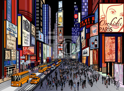 Пейзаж современный городской Нью-Йорк - ночной вид на Таймс-скверПейзаж современный городской<br>Репродукция на холсте или бумаге. Любого нужного вам размера. В раме или без. Подвес в комплекте. Трехслойная надежная упаковка. Доставим в любую точку России. Вам осталось только повесить картину на стену!<br>
