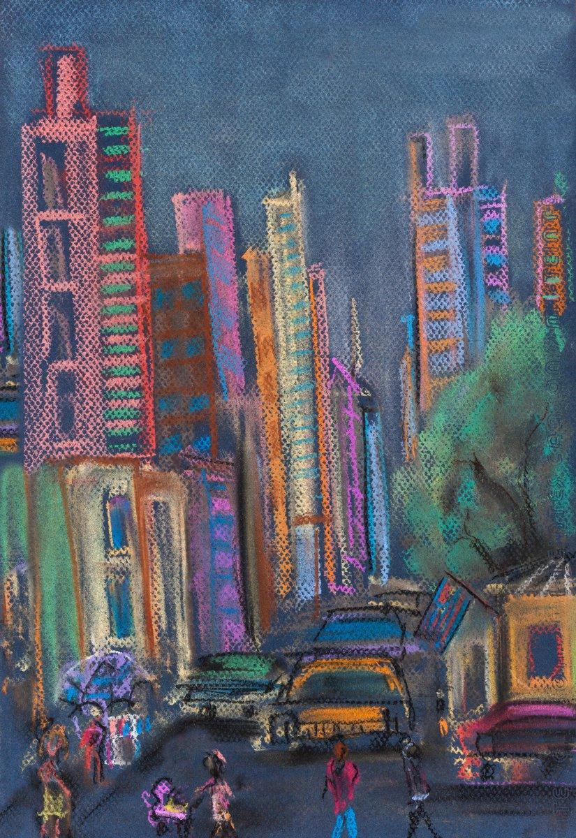 Постер Современный городской пейзаж Стрит в МанхэттенеСовременный городской пейзаж<br>Постер на холсте или бумаге. Любого нужного вам размера. В раме или без. Подвес в комплекте. Трехслойная надежная упаковка. Доставим в любую точку России. Вам осталось только повесить картину на стену!<br>