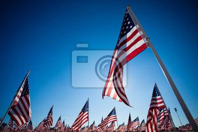 Постер Дисплей американские флаги с фоне небаФлаг США<br>Постер на холсте или бумаге. Любого нужного вам размера. В раме или без. Подвес в комплекте. Трехслойная надежная упаковка. Доставим в любую точку России. Вам осталось только повесить картину на стену!<br>
