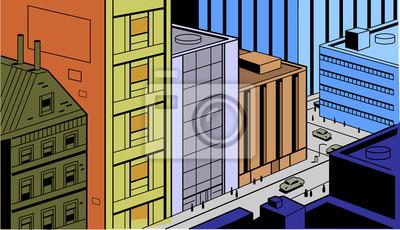 Постер Современный городской пейзаж Ретро Комиксы Город Уличная СценаСовременный городской пейзаж<br>Постер на холсте или бумаге. Любого нужного вам размера. В раме или без. Подвес в комплекте. Трехслойная надежная упаковка. Доставим в любую точку России. Вам осталось только повесить картину на стену!<br>
