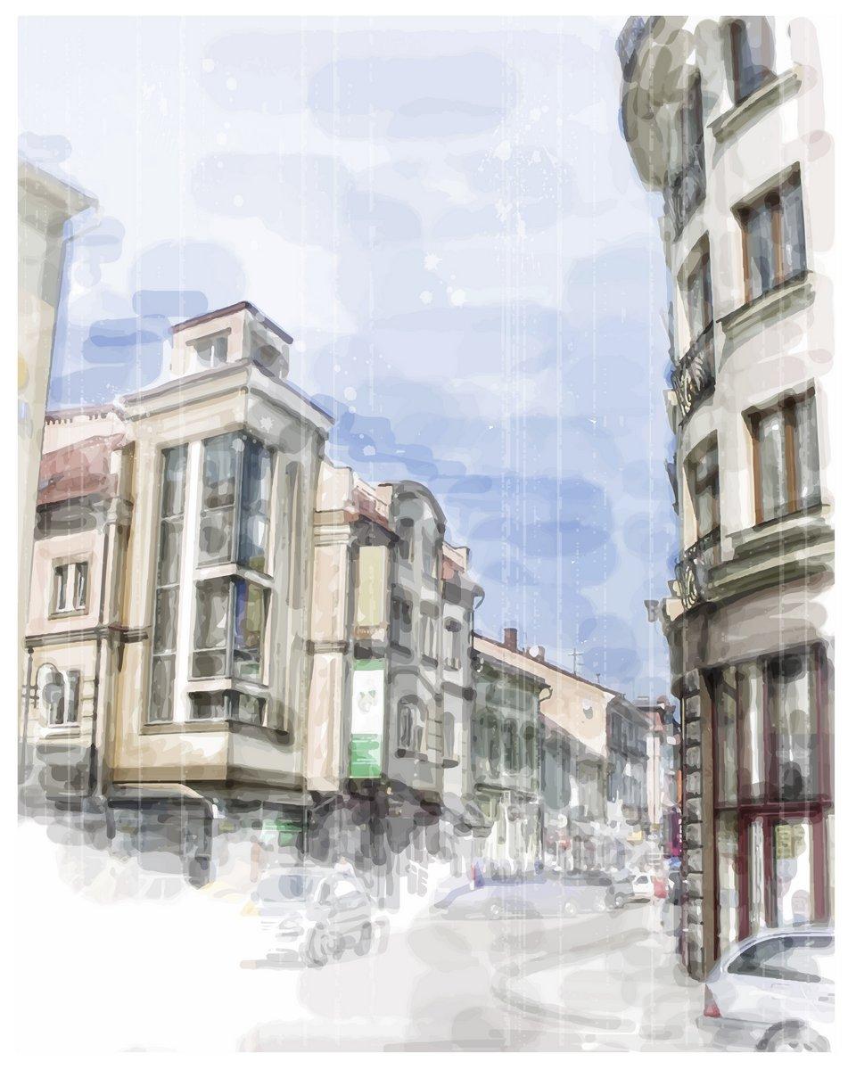 Постер Современный городской пейзаж Иллюстрация улице города. Акварельный стиль.Современный городской пейзаж<br>Постер на холсте или бумаге. Любого нужного вам размера. В раме или без. Подвес в комплекте. Трехслойная надежная упаковка. Доставим в любую точку России. Вам осталось только повесить картину на стену!<br>