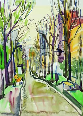 Постер Современный городской пейзаж Оригинальная акварельная живопись: городской паркСовременный городской пейзаж<br>Постер на холсте или бумаге. Любого нужного вам размера. В раме или без. Подвес в комплекте. Трехслойная надежная упаковка. Доставим в любую точку России. Вам осталось только повесить картину на стену!<br>