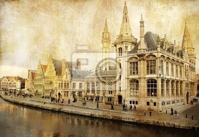 Постер Гент Бельгия - Гент - фотография в стиле ретроГент<br>Постер на холсте или бумаге. Любого нужного вам размера. В раме или без. Подвес в комплекте. Трехслойная надежная упаковка. Доставим в любую точку России. Вам осталось только повесить картину на стену!<br>