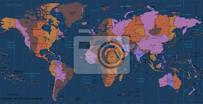 Постер Современные карты мира Fuseau horaireСовременные карты мира<br>Постер на холсте или бумаге. Любого нужного вам размера. В раме или без. Подвес в комплекте. Трехслойная надежная упаковка. Доставим в любую точку России. Вам осталось только повесить картину на стену!<br>