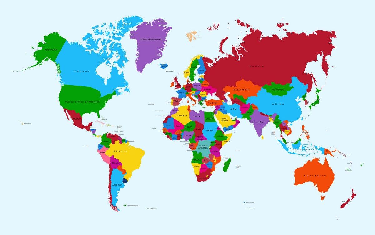 Постер Современные карты мира Карта мира, атлас стран красочные EPS10 векторного файла.Современные карты мира<br>Постер на холсте или бумаге. Любого нужного вам размера. В раме или без. Подвес в комплекте. Трехслойная надежная упаковка. Доставим в любую точку России. Вам осталось только повесить картину на стену!<br>
