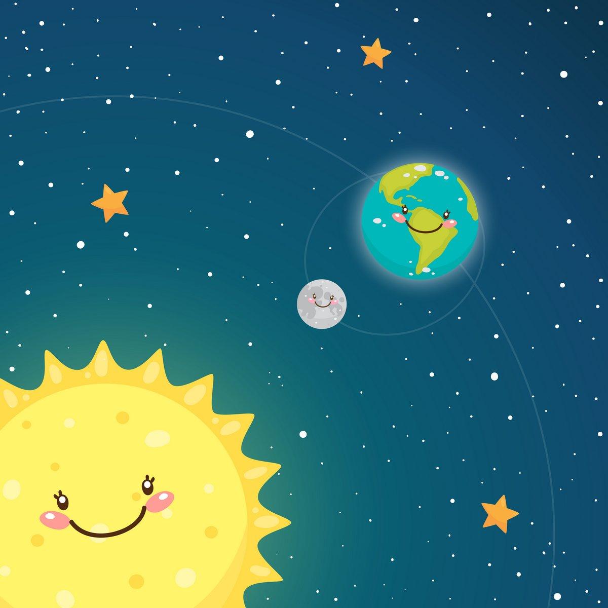 Постер Космос детям Милые Земли и Луны в пространствеКосмос детям<br>Постер на холсте или бумаге. Любого нужного вам размера. В раме или без. Подвес в комплекте. Трехслойная надежная упаковка. Доставим в любую точку России. Вам осталось только повесить картину на стену!<br>