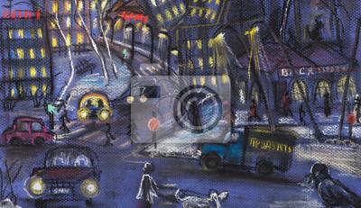 Постер Современный городской пейзаж Ночной городСовременный городской пейзаж<br>Постер на холсте или бумаге. Любого нужного вам размера. В раме или без. Подвес в комплекте. Трехслойная надежная упаковка. Доставим в любую точку России. Вам осталось только повесить картину на стену!<br>