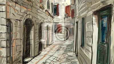 Пейзаж современный городской Улица Рома - иллюстрацияПейзаж современный городской<br>Репродукция на холсте или бумаге. Любого нужного вам размера. В раме или без. Подвес в комплекте. Трехслойная надежная упаковка. Доставим в любую точку России. Вам осталось только повесить картину на стену!<br>