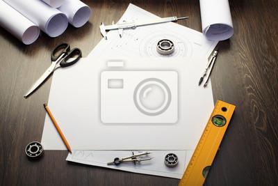 Инструменты и бумаги с набросками, 30x20 см, на бумагеБизнес<br>Постер на холсте или бумаге. Любого нужного вам размера. В раме или без. Подвес в комплекте. Трехслойная надежная упаковка. Доставим в любую точку России. Вам осталось только повесить картину на стену!<br>