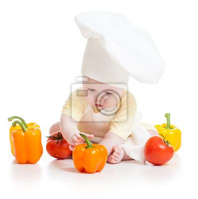 Ребенок носите шеф-повар шляпы с здорового питания овощи, 20x20 см, на бумагеДети<br>Постер на холсте или бумаге. Любого нужного вам размера. В раме или без. Подвес в комплекте. Трехслойная надежная упаковка. Доставим в любую точку России. Вам осталось только повесить картину на стену!<br>