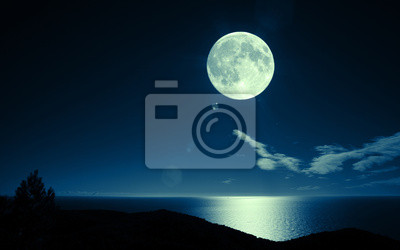 Постер Полнолуние Полная луна над моремПолнолуние<br>Постер на холсте или бумаге. Любого нужного вам размера. В раме или без. Подвес в комплекте. Трехслойная надежная упаковка. Доставим в любую точку России. Вам осталось только повесить картину на стену!<br>