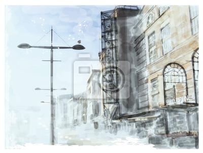 Пейзаж современный городской Акварель иллюстрация городской пейзажПейзаж современный городской<br>Репродукция на холсте или бумаге. Любого нужного вам размера. В раме или без. Подвес в комплекте. Трехслойная надежная упаковка. Доставим в любую точку России. Вам осталось только повесить картину на стену!<br>