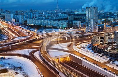 Дорожной развязки на улицах Москвы в зимнюю ночь, 31x20 см, на бумагеДорожные развязки<br>Постер на холсте или бумаге. Любого нужного вам размера. В раме или без. Подвес в комплекте. Трехслойная надежная упаковка. Доставим в любую точку России. Вам осталось только повесить картину на стену!<br>