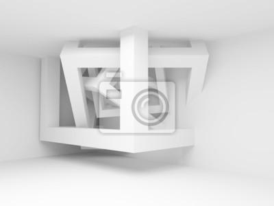 Постер-картина Минимализм Белый интерьер комнаты с абстрактными строительство 3D КубыМинимализм<br>Постер на холсте или бумаге. Любого нужного вам размера. В раме или без. Подвес в комплекте. Трехслойная надежная упаковка. Доставим в любую точку России. Вам осталось только повесить картину на стену!<br>