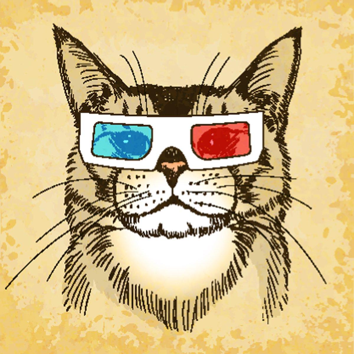 Постер Животные Рисованной кошка с 3d-очками. Векторные иллюстрации, eps10., 20x20 см, на бумагеКошки<br>Постер на холсте или бумаге. Любого нужного вам размера. В раме или без. Подвес в комплекте. Трехслойная надежная упаковка. Доставим в любую точку России. Вам осталось только повесить картину на стену!<br>