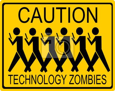 Постер-картина Смешные таблички Технология забавный знак осторожно зомбиСмешные таблички<br>Постер на холсте или бумаге. Любого нужного вам размера. В раме или без. Подвес в комплекте. Трехслойная надежная упаковка. Доставим в любую точку России. Вам осталось только повесить картину на стену!<br>