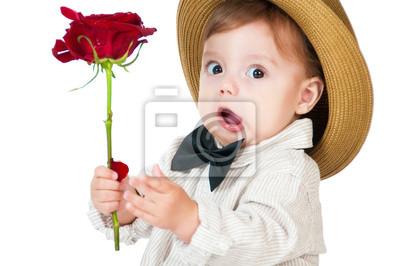 Постер Эмоциональное pretty baby джентльмен с розой в руке.Эмоции<br>Постер на холсте или бумаге. Любого нужного вам размера. В раме или без. Подвес в комплекте. Трехслойная надежная упаковка. Доставим в любую точку России. Вам осталось только повесить картину на стену!<br>