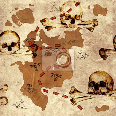 Постер Бесшовного фона с пиратской картеПираты<br>Постер на холсте или бумаге. Любого нужного вам размера. В раме или без. Подвес в комплекте. Трехслойная надежная упаковка. Доставим в любую точку России. Вам осталось только повесить картину на стену!<br>