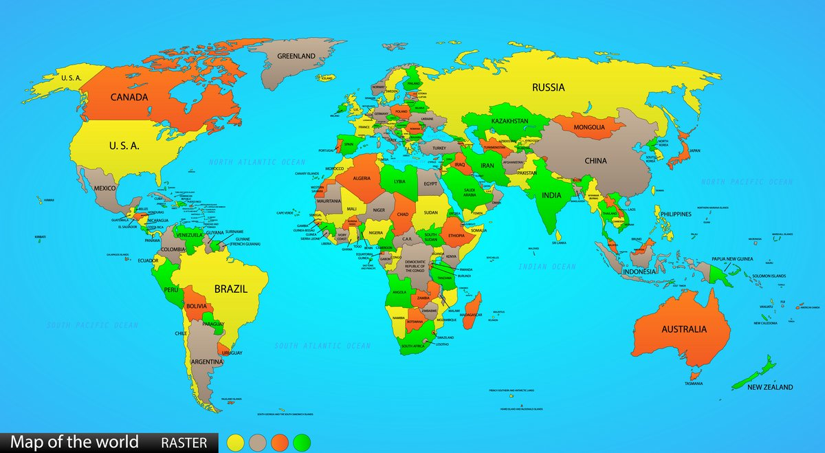 Постер Современные карты мира Политическая карта мираСовременные карты мира<br>Постер на холсте или бумаге. Любого нужного вам размера. В раме или без. Подвес в комплекте. Трехслойная надежная упаковка. Доставим в любую точку России. Вам осталось только повесить картину на стену!<br>