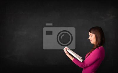 Постер Образование Молодая леди, читая книгу,Образование<br>Постер на холсте или бумаге. Любого нужного вам размера. В раме или без. Подвес в комплекте. Трехслойная надежная упаковка. Доставим в любую точку России. Вам осталось только повесить картину на стену!<br>