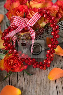 Herz mit Rosen, 20x30 см, на бумаге02.14 День Святого Валентина (День всех влюбленных)<br>Постер на холсте или бумаге. Любого нужного вам размера. В раме или без. Подвес в комплекте. Трехслойная надежная упаковка. Доставим в любую точку России. Вам осталось только повесить картину на стену!<br>