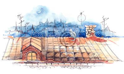 Постер Современный городской пейзаж На крышеСовременный городской пейзаж<br>Постер на холсте или бумаге. Любого нужного вам размера. В раме или без. Подвес в комплекте. Трехслойная надежная упаковка. Доставим в любую точку России. Вам осталось только повесить картину на стену!<br>