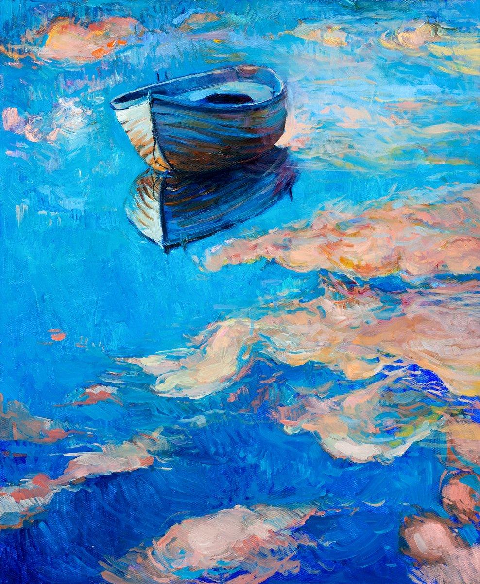Пейзаж современный морской Лодка в мореПейзаж современный морской<br>Репродукция на холсте или бумаге. Любого нужного вам размера. В раме или без. Подвес в комплекте. Трехслойная надежная упаковка. Доставим в любую точку России. Вам осталось только повесить картину на стену!<br>